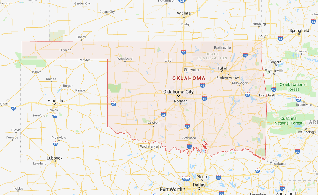 918 Area Code Map USA Oklahoma